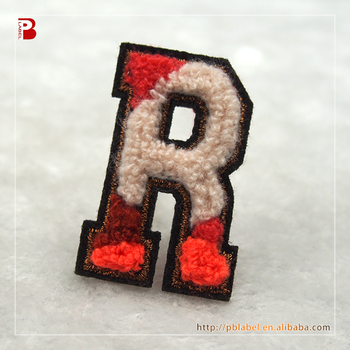 Different technique letter R embroidery patches iron on embroidered letters appliques