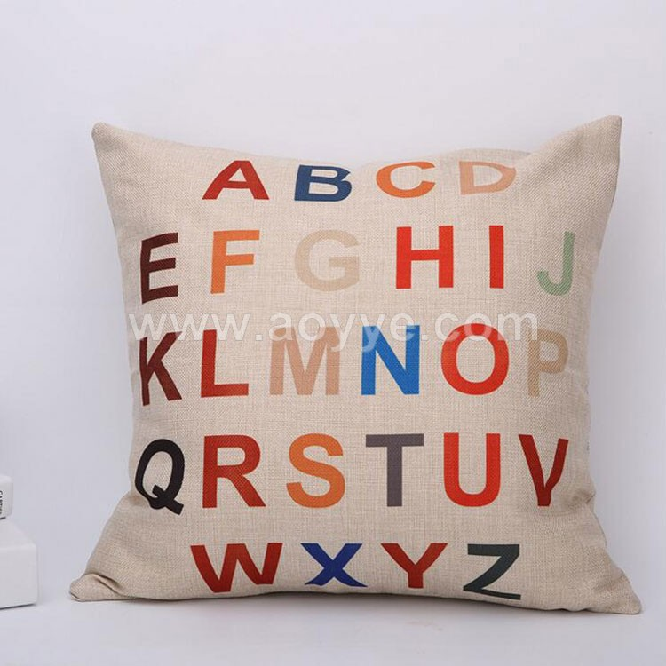 Wholesale hot english alphabet decorative throw pillow case 45Cmx45Cm square handmade pillow