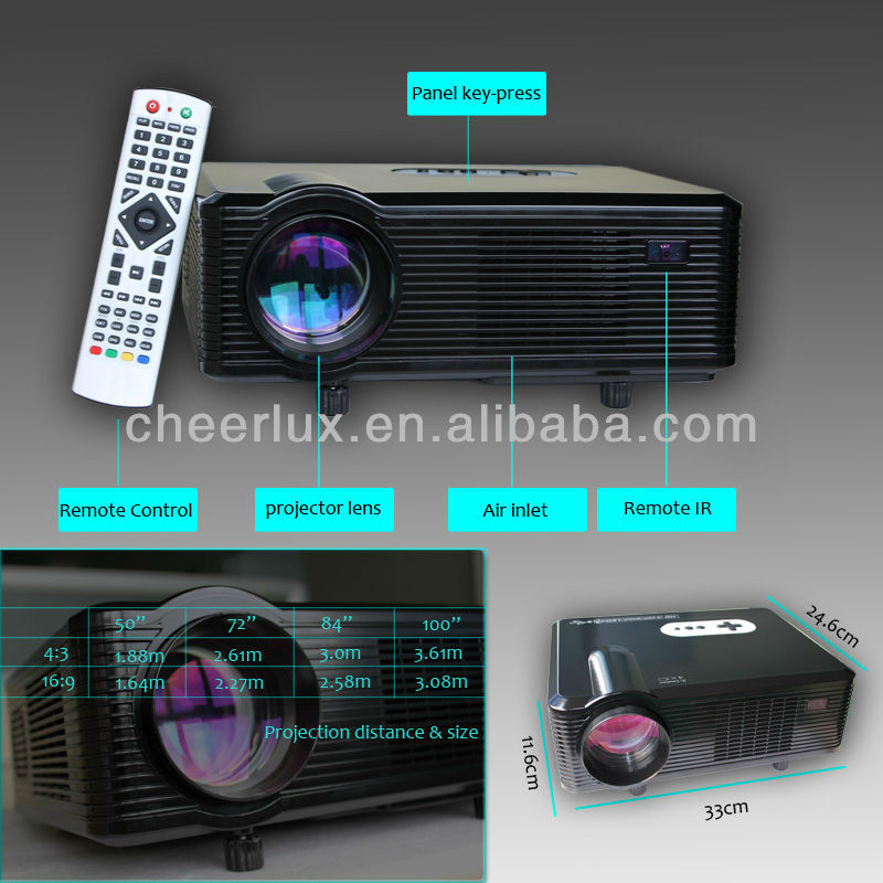 led projector/proyector/beame 1280*800 3000lumens 50000hours with hdmi&usb for pc/laptop/tv/usb/will/xbox/game cube/paly station