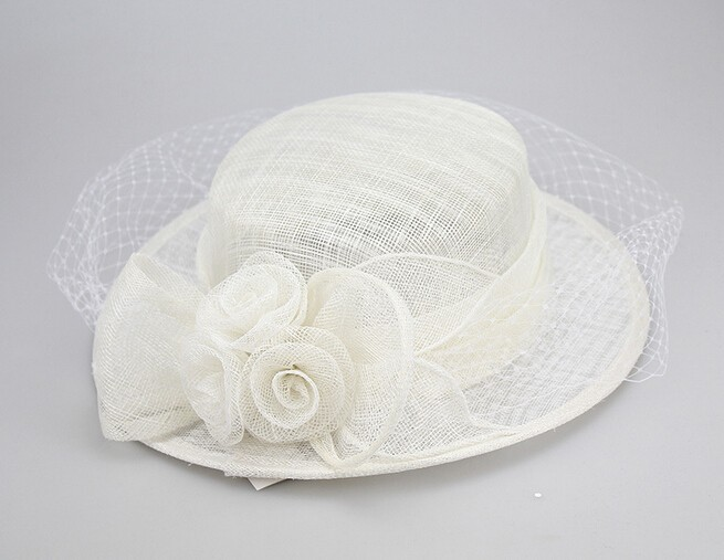 manufacturing Fancy Sinamay flower design white plain church hats wholesale