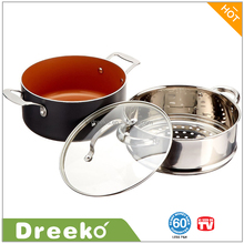 Copper Ceramic Cooking pot with A Steamer, Glass Lid