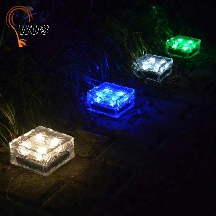 factory directly ice cube brick solar outdoor lighting solar led underground lights decorative for walkway lawn landscape