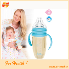 Hot seling glass feeding bottle/nursing bottle/baby bottle with handle