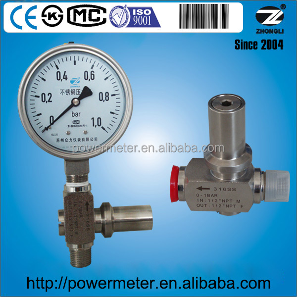 WIKA type 232.30 dry type or liquid filled type welding 0-1 bar pressure gauge