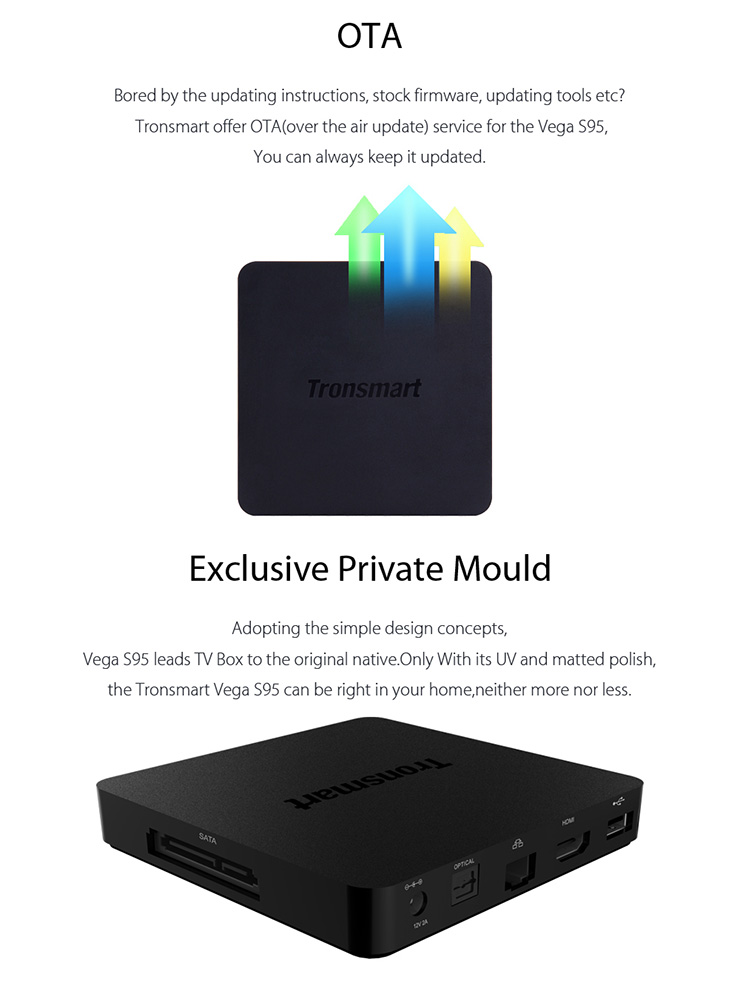 Tronsmart Vega S95 Telos , True 4K Media Player , Built-in Android 5.1 Lollipop OS Feature 2GB DDR3 RAM, and 16GB eMMC Flash