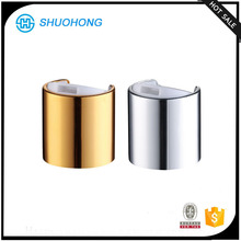 China manufacture disc top cap 24/410 shiny silver or shiny gold, cosmetic plastic closure