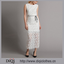 Wholesale Ladies Western Dress Designs Zipped Cutout Lace Scoop Back Tied Waist White Lace Long Dress