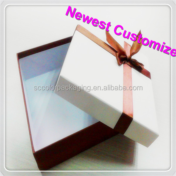 Brand brown paper cardboard gift shoe box with bow ,2014 Newest
