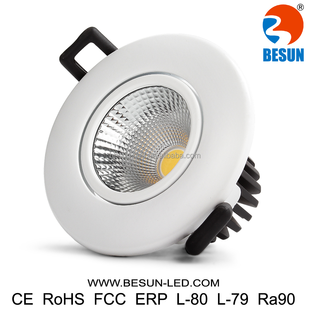 BESUN patent design 7w flickering free fire rated dimmable cob led downlight recessed led downlights with 5 years warranty