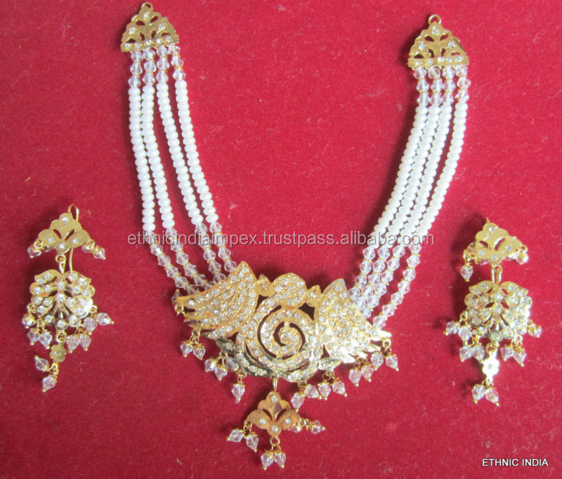 Gold plated Jadau stone studded pearl string NECKLACE earring set