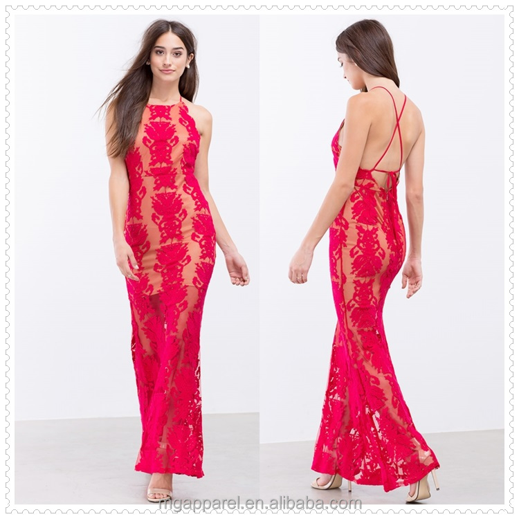 Wholesale Fashion Clothing Women Alibaba Dresses Halter Neck Sexy Red