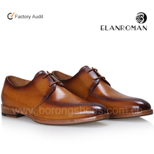 Elanroman wholesale high quality brown color genuine Leather shoes