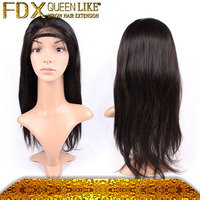 Straight virgin hair lace front human hair wig