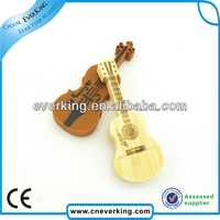 promotional gift violin Shape wooden usb flash memory