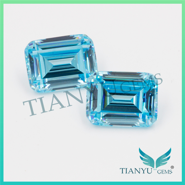 Free Samples Wholesale Gems Processing 8x10mm Emerald Cut Loose Synthetic Aquamarine Zircon Stone
