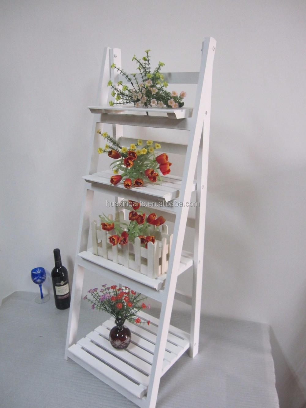 Zakka Garden Wood Folding Flower Pot Shelf Flower Shelf