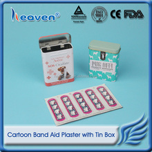 Heaven Medical Cartoon Kids Waterproof Band-aid/First Aid Wound Plaster Adhesive Bandage Strips with Metal Tin Box