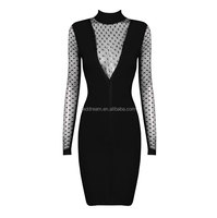2016 long sleeve bodycon dress sexy deep v knee length, heavy bandage dress