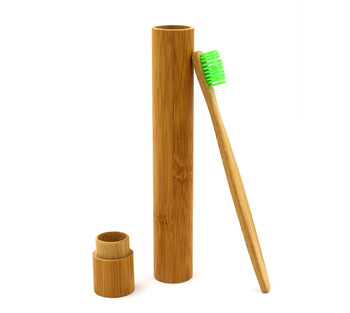 Natural Bamboo Travel Toothbrush   Holder Bamboo Cover package box