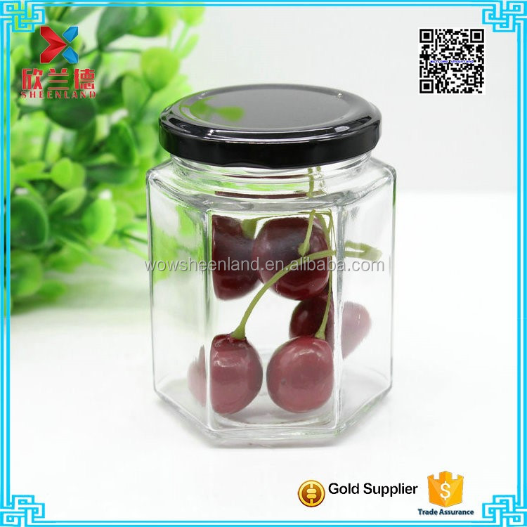 hexagonal 150ml canning glass candy jar with sealed lid wholesale