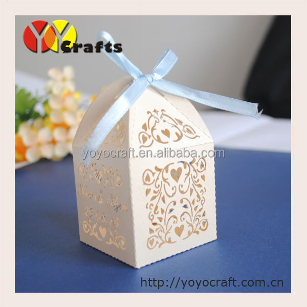 ivory filigree wedding candy/chocolate boxes,ivy vine laser cut cupcake boxes with ribbon