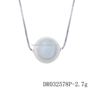 Silver Pearl Necklace Fresh Water Pearl Jewelry Single Pearl with Chain DR032578P