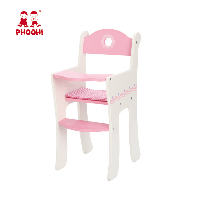White and pink wooden baby doll high chair doll paly game