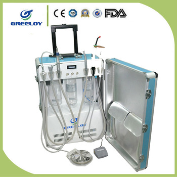 Luggage Type Built-in Air Compressor Greeloy Portable Dental Unit