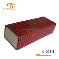 Red/Black latticed PU leather hand made folding glasses case