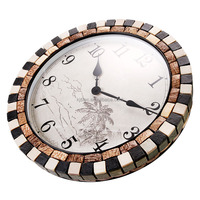 18 Inch Hot Sale Natural Coconut Shell Mosaic Specialty Wall Clock