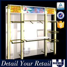 OEM ODM unique retail modular metal shelving with lightbox for cloths shop