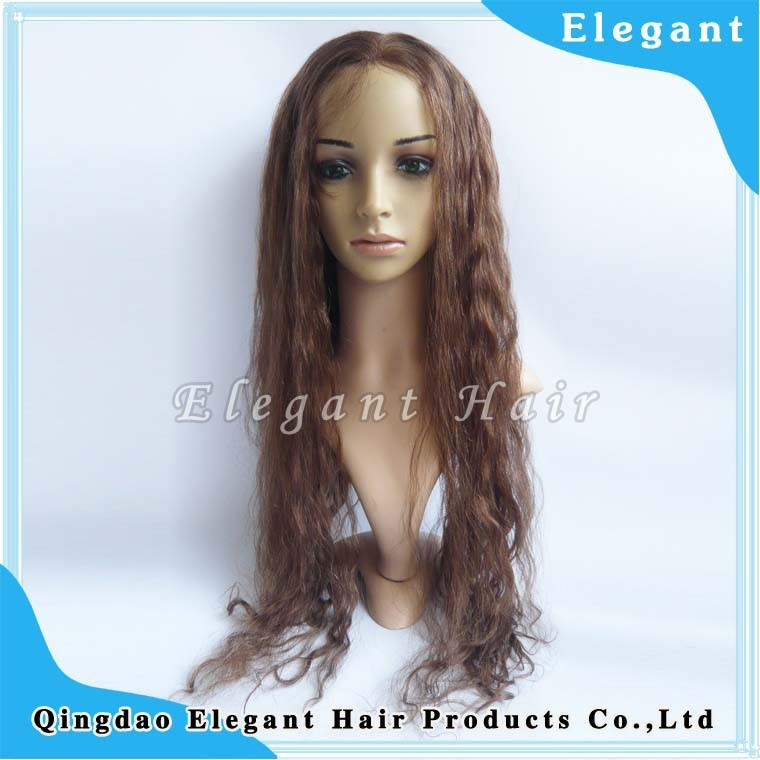 "Eleganthair 24""Brown Wavy Silk Top Indian Virgin Remy Hair Full Lace Wigs With PU Around"