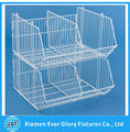 Wire Storage Basket with Two Stackable Bins