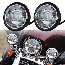 "4.5 INCH Motorcycle Led Fog Lamp 4-1/2"" 30W Chrome LED Auxiliary Fog Passing Light for Harley Daivdson"