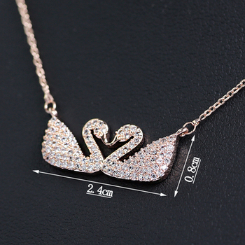 Fashion elegant CZ crystal double swan copper silver plated necklace