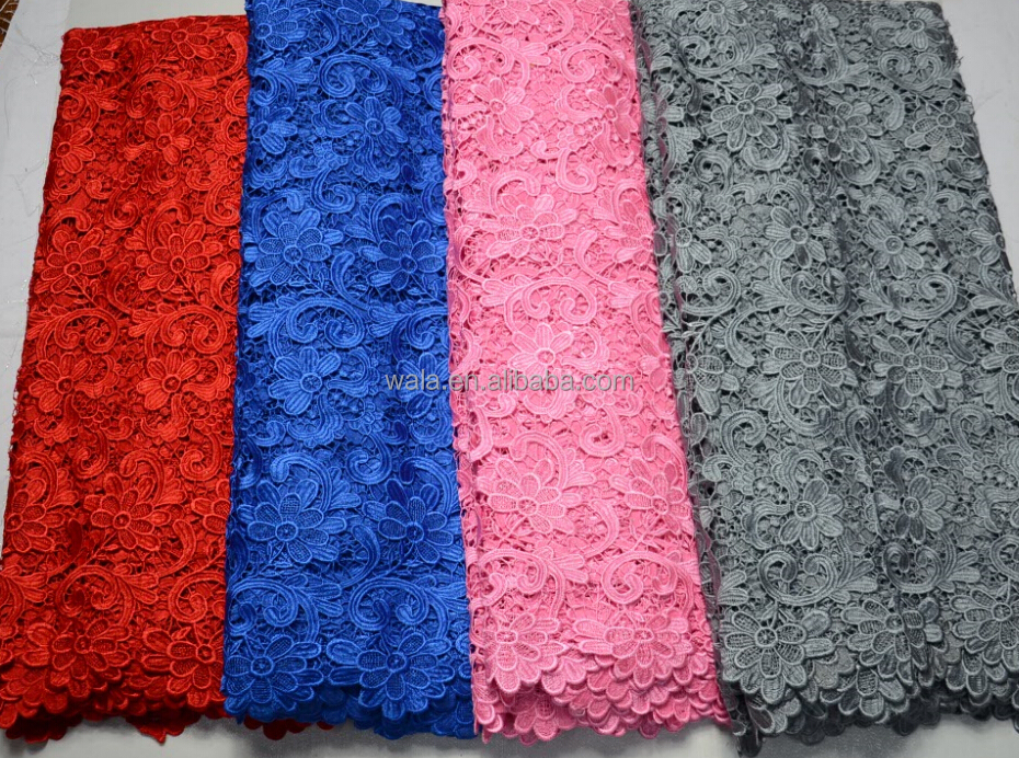 african lace fabric/ LP60336-2 guipure lace/pink cord lace fabric for lady