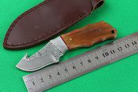 Handmade mini Damascus Steel knife fixed blade knife