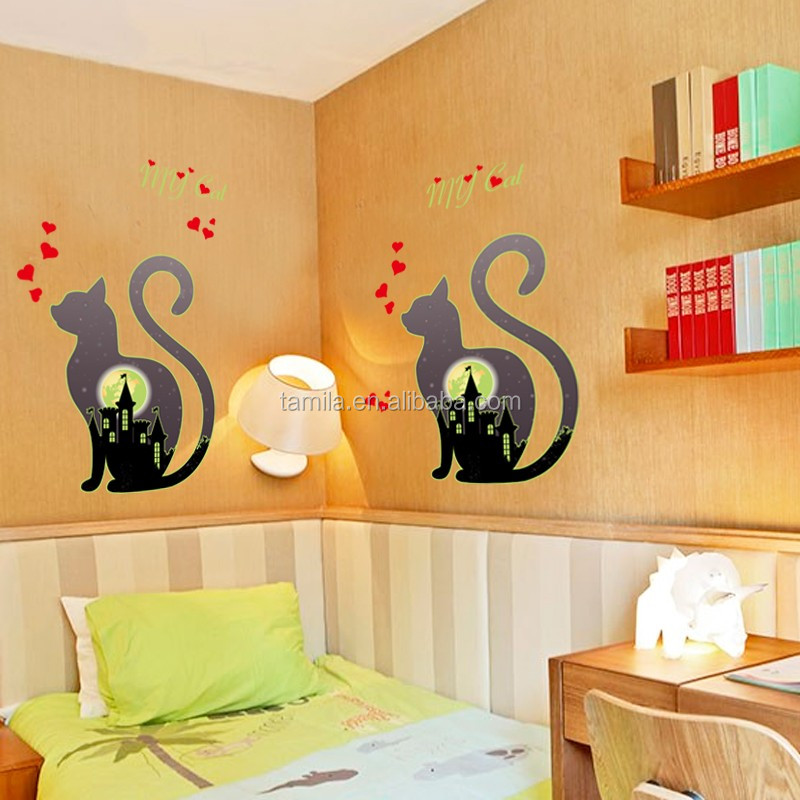 Eco-friendly glow in the dark wall sticker promotional gift night sticker cat design home decor