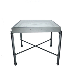 square iron metal fold table with glass clock top