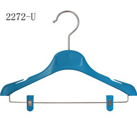 Customed safely ecofriendly Adjustable with bar and clips wholesale kids plastic clothes hangers