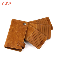 High quality card holder leather flip case Snap closure and 42 card slots vintage felt business credit card holder leather