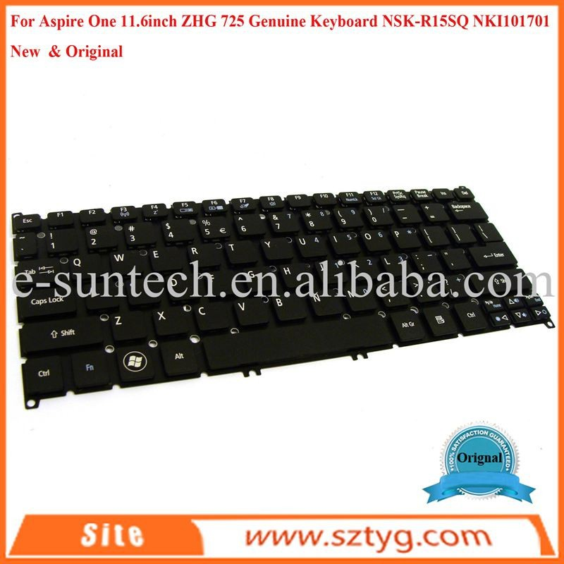 Original New Laptop Keyboard For Aspire One 11.6inch 725 ZHG Keyboard NSK-R15SQ NKI101701
