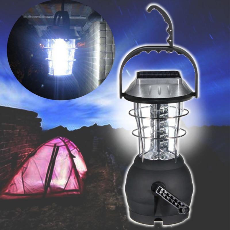 3xAAA Batteries Multifunction Super Bright Hand Crank Solar 36 LED Lamp Outdoor Rechargeable Camping Light
