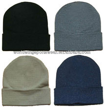 Men's customized plain knitted colorful acrylic beanie hat