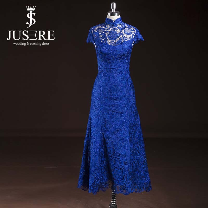 Real Sample Elegant High Collar Short Tea Length Lace Royal Blue Mother Of The Bride Dresses