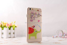 clear transparent PC cover case for iphone 6 6S 6+ plus for kids cartoon elephant and bird