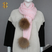 Genuine Raccoon Fur Pompoms Plain Wool Crochet Scarf for Lady