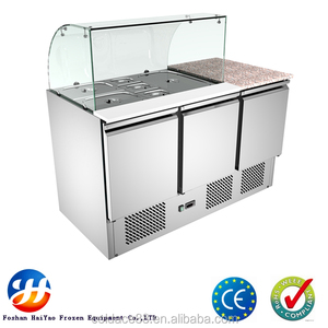Glass showcase refrigerated salad bar with 3 doors refrigerator