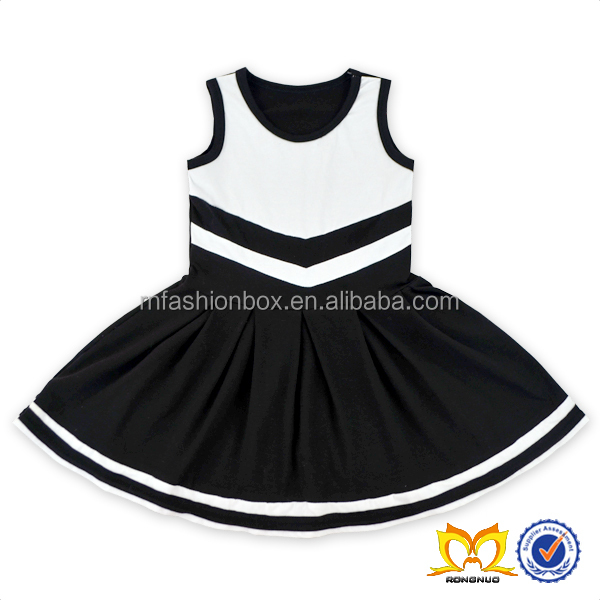 Fashion cotton mix black and white girl's sleeveless dress summer new style lovely kids dress