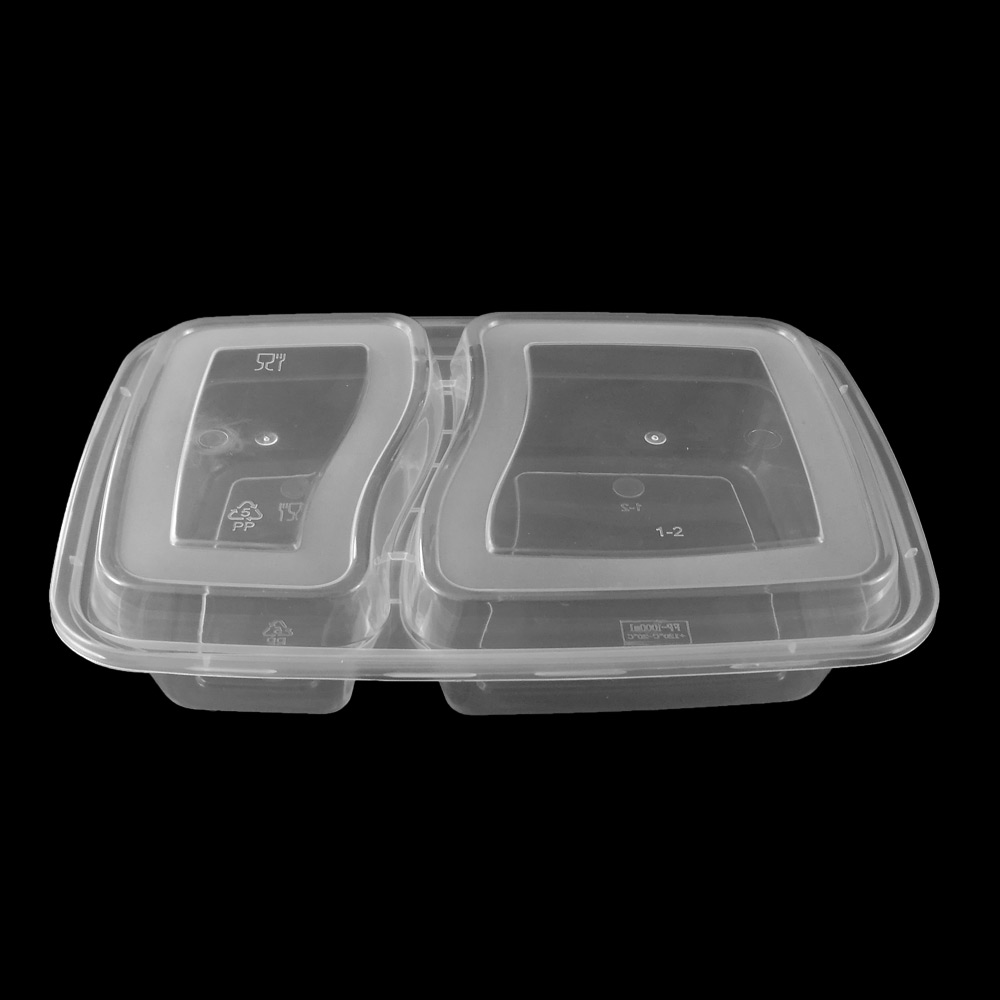 Disposable plastic take away bento lunch box with lid
